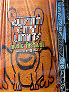 The Daniel Johnston, 'Hi How Are You' stage banner at the Austin City Limits Music Festival, Austin Texas, September 28 2008.