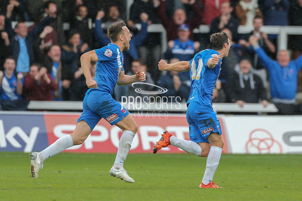 Hartlepool United midfielder, on loan from Crystal Palace, Jake Gray celebrates his goal during the Sky Bet League 2 match between Hartlepool United and Leyton Orient at Victoria Park, Hartlepool, England on 15 November 2015. Photo by Simon Davies.
