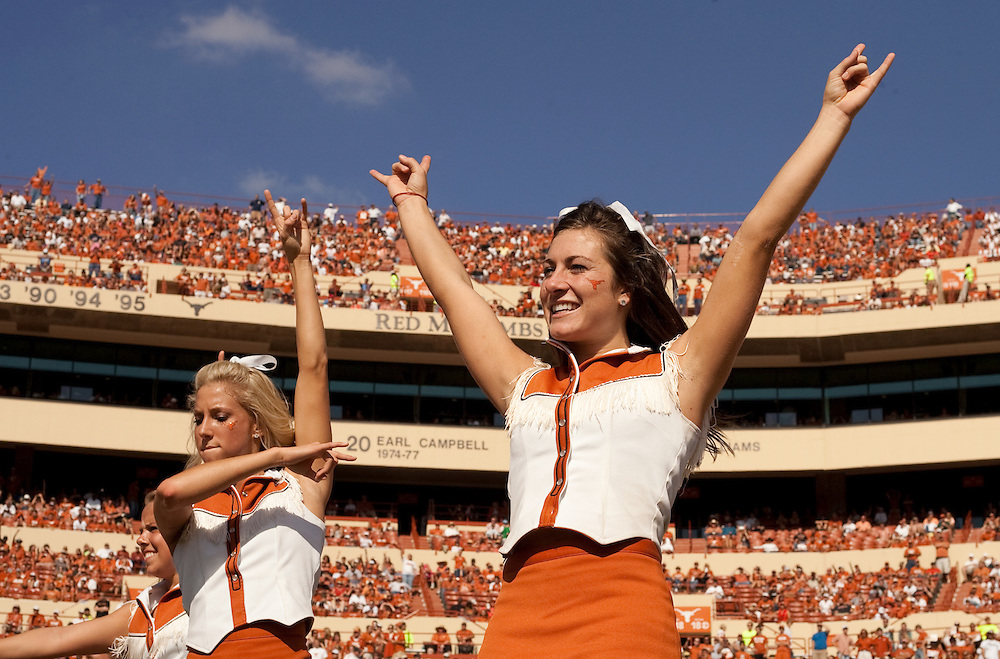 Texas Longhorn Cheerleaders. University of Central Florida Knights at Texas Longhorns. Photographed at Darrell K. Royal-Texas Memorial Stadium in Austin, Texas on Saturday, November 7, 2009. Photograph © 2009 Darren Carroll