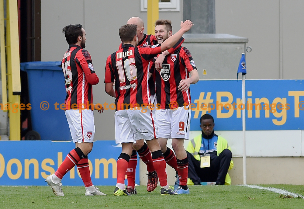 Tom Barkhuizen of Morecambe (no 9) celebrates after scoring their fourth goal during the Sky Bet League 2 match between AFC Wimbledon and Morecambe at the Cherry Red Records Stadium in Kingston. October 17, 2015.<br /> Simon  Dack / Telephoto Images<br /> +44 7967 642437