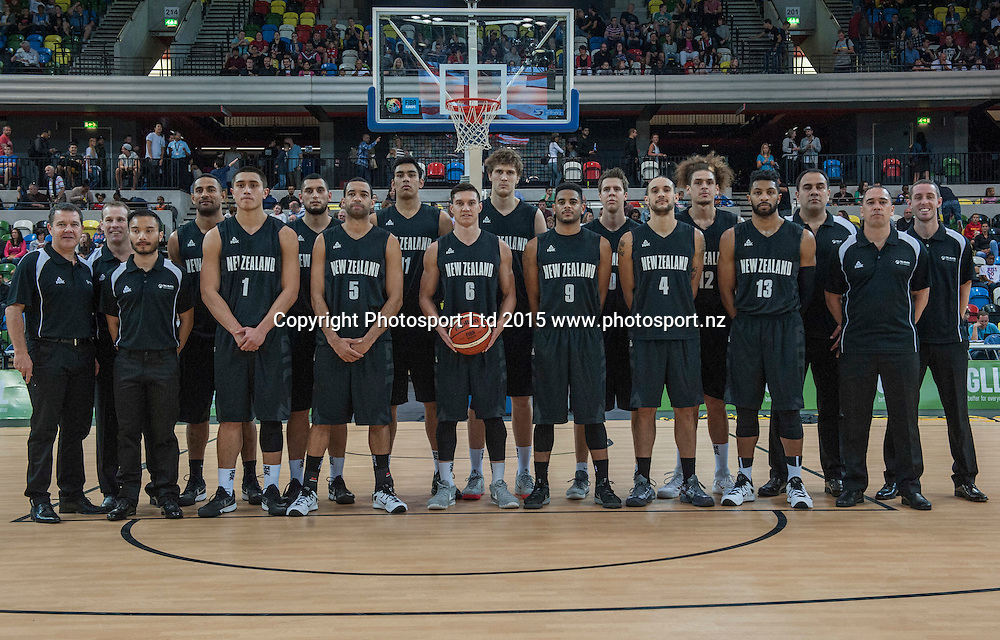 25.07.2015. London England. Basketball test match. Great Britain versus New Zealand.  Team New Zealand players and Coaching Staff.