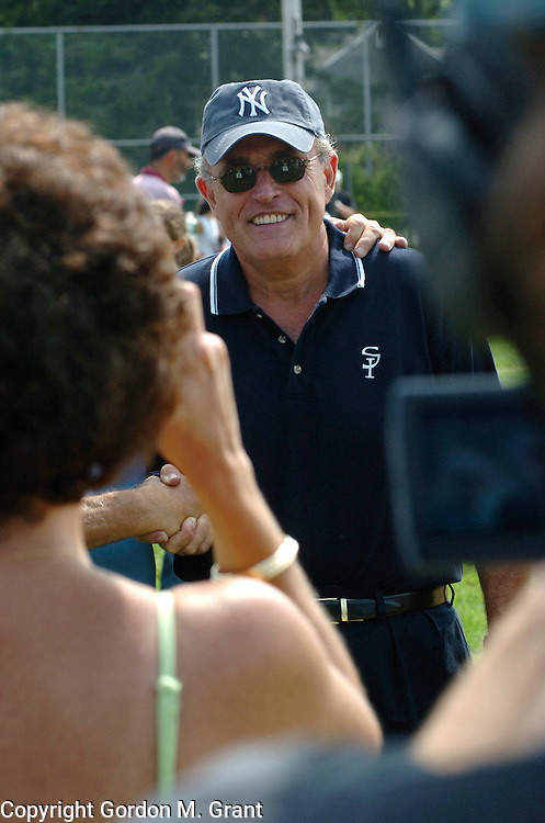 East Hampton, NY - 8/20/05 -  Styles - Former New York City Mayor Rudolph Giuliani  at The Artist / Writers Softball Game at Herrick Park in East Hampton, NY August 20, 2005.      (Photo by Gordon M. Grant)<br />
