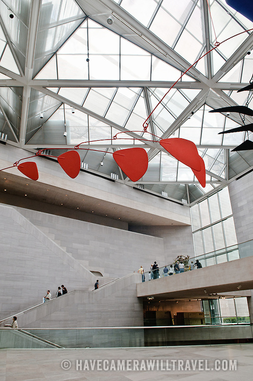 Interior of the East Building of the National Gallery of Art in Washington DC.