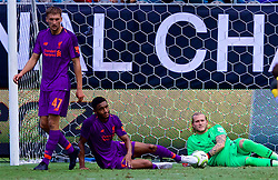 CHARLOTTE, USA - Sunday, July 22, 2018: Liverpool's goalkeeper Loris Karius looks dejected as Borussia Dortmund score a late third goal, an own-goal from Joe Gomez, during a preseason International Champions Cup match between Borussia Dortmund and Liverpool FC at the  Bank of America Stadium. Borussia Dortmund won 3-1. (Pic by David Rawcliffe/Propaganda)