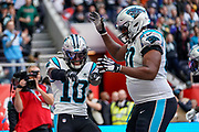 Touchdown, Carolina Panthers Wide Receiver Curtis Samuel (10) scores and celebrates during the International Series match between Tampa Bay Buccaneers and Carolina Panthers at Tottenham Hotspur Stadium, London, United Kingdom on 13 October 2019.