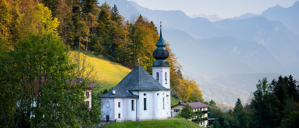 Wallfahrtskirche Maria Gern, traditional onion dome Roman Catholic church at Berchtesgaden in Bavaria, Germany