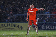 Scott Griffiths of Luton Town in the rain during the Sky Bet League 2 match at Adams Park, High Wycombe<br /> Picture by David Horn/Focus Images Ltd +44 7545 970036<br /> 26/12/2014
