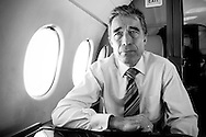 NATO Secretary General Anders Fogh Rasmussen in the airplane back to Brussels after his one day official visit in Berlin, Germany.