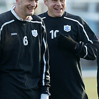 St Johnstone training...21.11.03<br />Ian Maxwell and Mixu Paatelainen share a joke during training this morning before tomorrow's game v Falkirk<br />see story by Gordon Bannerman Tel: 01738 553978<br />Picture by Graeme Hart.<br />Copyright Perthshire Picture Agency<br />Tel: 01738 623350  Mobile: 07990 594431