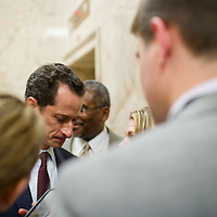 Rep. Anthony Weiner (D-NY) is pictured in the hallway of the U.S. House of Representatives on his way back to his office on Wednesday, June 1, 2011 in Washington.  (Photo by Jay Westcott/Politico)