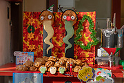 Sweetbreads with faces & eyes in bakery along Philosopher's Path in Kyoto's Higashiyama district, Japan. The 2-kilometer path begins at Ginkakuji (Silver Pavilion) and ends in Nanzenji neighborhood. A famous Japanese philosopher Nishida Kitaro was said to meditate while walking this route to Kyoto University. This is part of Lake Biwa Canal which tunnels 20 kilometers through the mountains to Lake Biwa in nearby Shiga Prefecture. Built during the Meiji Period to revitalize the stagnating local economy, the canal powered Japan's first hydroelectric power plant.