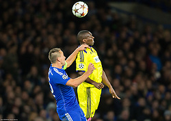 John Terry of Chelsea vs Jean Philippe Mendy of Maribor during football match between Chelsea FC and NK Maribor, SLO in Group G of Group Stage of UEFA Champions League 2014/15, on October 21, 2014 in Stamford Bridge Stadium, London, Great Britain. Photo by Vid Ponikvar / Sportida.com