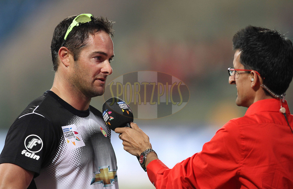 Mark Boucher of the Warriors during a TV interview during match 1 of the NOKIA Champions League T20 ( CLT20 )between the Royal Challengers Bangalore and the Warriors held at the  M.Chinnaswamy Stadium in Bangalore , Karnataka, India on the 23rd September 2011..Photo by Shaun Roy/BCCI/SPORTZPICS