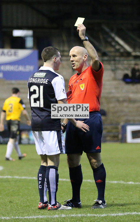 Longridge is booked during the Raith Rovers v Dumbarton  Scottish Championship 23 January 2016<br /> <br /> (c) Andy Scott | SportPix.org.uk