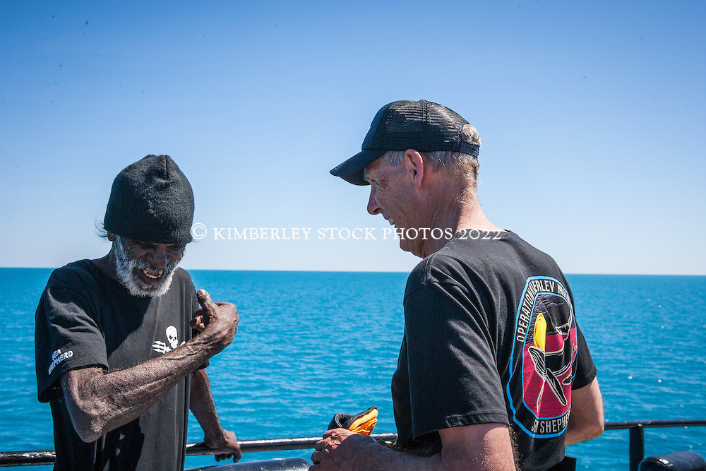 Ex Federal Senator Bob Brown chats to Goolarabooloo traditional owner Richard Hunter on board Sea Shepherd's The Steve Irwin off James Price Point during Operation Kimberley Miinimbi in August 2012.
