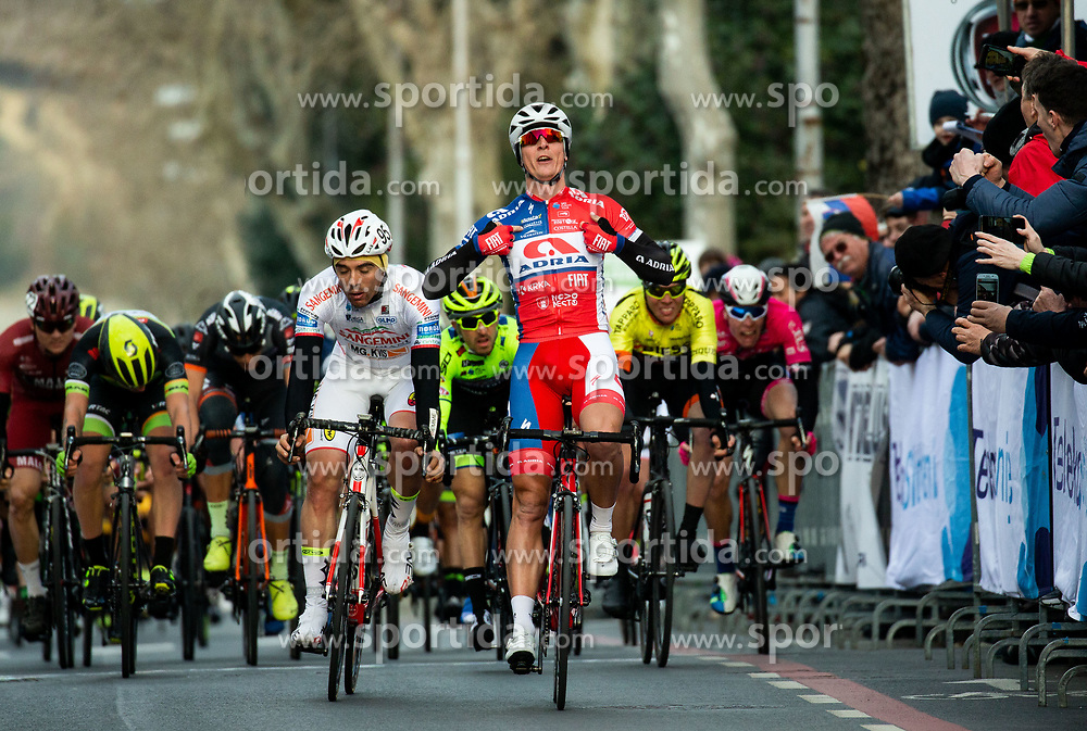 Winner Marko Kump of Adria Mobil reacts at finish line during the cycling race 6. VN Slovenske Istre / 6th Slovenian Istra Grand Prix, on February 24, 2019 in Izola/ Isola, Slovenia. Photo by Vid Ponikvar / Sportida