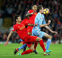 Peter Crouch of Stoke City challenges Dejan Lovren of Liverpool - Mandatory by-line: Matt McNulty/JMP - 27/12/2016 - FOOTBALL - Anfield - Liverpool, England - Liverpool v Stoke City - Premier League