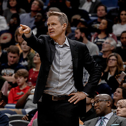 Oct 20, 2017; New Orleans, LA, USA; Golden State Warriors head coach Steve Kerr against the New Orleans Pelicans during the second half of a game at the Smoothie King Center. The Warriors defeated the Pelicans 128-120.  Mandatory Credit: Derick E. Hingle-USA TODAY Sports
