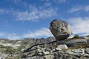 Balanced Granite boulder in Marriott Basin, Coast Mountains British Columbia