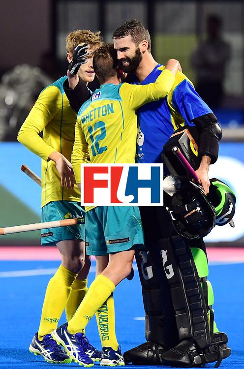 Odisha Men's Hockey World League Final Bhubaneswar 2017<br /> Match id:20<br /> Australia v Germany<br /> Foto: Australia wins the Semi Final against Germany.<br /> keeper Tristan Clemons (Aus) and Jake Whetton (Aus) <br /> COPYRIGHT WORLDSPORTPICS FRANK UIJLENBROEK