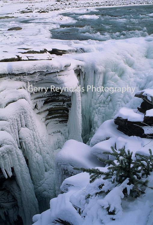 Sunwapta Falls, Frozen Waterfall, Jasper, Alberta, Canada, Ice, Snow, Winter