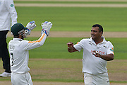 Samit Patel and Chris Read celebrate the wicket of Tom Alsop (not shown)  during the Specsavers County Champ Div 1 match between Nottinghamshire County Cricket Club and Hampshire County Cricket Club at Trent Bridge, West Bridgford, United Kingdom on 13 August 2016. Photo by Simon Trafford.