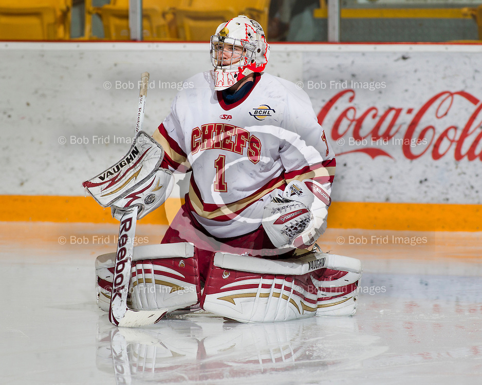 13 October 2012:  goalie Mitch Gillam (1) of the Chiefs  during a game between the Chilliwack Chiefs and the Vernon Vipers at  Prospera Centre, Chilliwack, BC.    Final Score: Chilliwack 4  Vernon 1   ****(Photo by Bob Frid - All Rights Reserved 2012): mobile: 778-834-2455 : email: bob.frid@shaw.ca ****