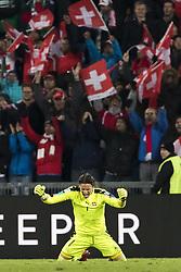 November 12, 2017 - Basel, Schweiz - Basel, 12.11.2017, Fussball WM Qualifikation Playoff, Schweiz - Nordirland, Torhueter Yann Sommer (SUI) jubelt nach dem Spiel mit Fans  (Credit Image: © Pascal Muller/EQ Images via ZUMA Press)