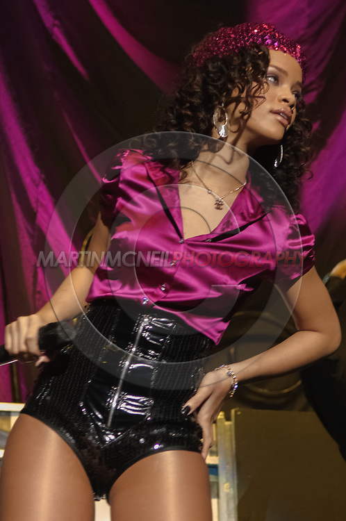 GLASGOW, SCOTLAND, NOVEMBER 26 2006: US pop singer Rihanna performs live as a support act to the Pussycat Dolls inside the SECC in Glasgow, Scotland on November 26, 2006