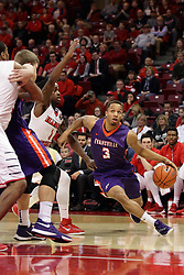 15 January 2016: Jaylon Brown(3) storms the lane looking at the hoop and passing Paris Lee(1) during the Illinois State Redbirds v Evansville Purple Aces at Redbird Arena in Normal Illinois (Photo by Alan Look)