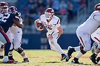 OXFORD, MS - OCTOBER 28:  Cole Kelley #15 of the Arkansas Razorbacks runs the ball during a game against the Ole Miss Rebels at Hemingway Stadium on October 28, 2017 in Oxford, Mississippi.  The Razorbacks defeated the Rebels 38-37.  (Photo by Wesley Hitt/Getty Images) *** Local Caption *** Cole Kelley