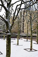 Winter in La Défense, France.