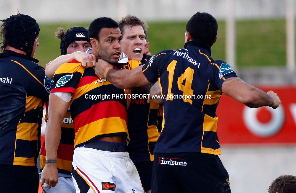 Taranaki winger Nathan Hohaia motions to hit Waikato fullback Sosene Anesi, Air NZ Cup Preseason match, Waikato v Taranaki, Waikato Stadium, Hamilton, New Zealand. 24 July 2009. Photo: William Booth/PHOTOSPORT