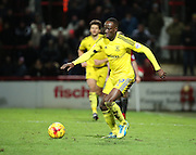 Middlesbrough midfielder Albert Adomah launching an attack during the Sky Bet Championship match between Brentford and Middlesbrough at Griffin Park, London, England on 12 January 2016. Photo by Matthew Redman.