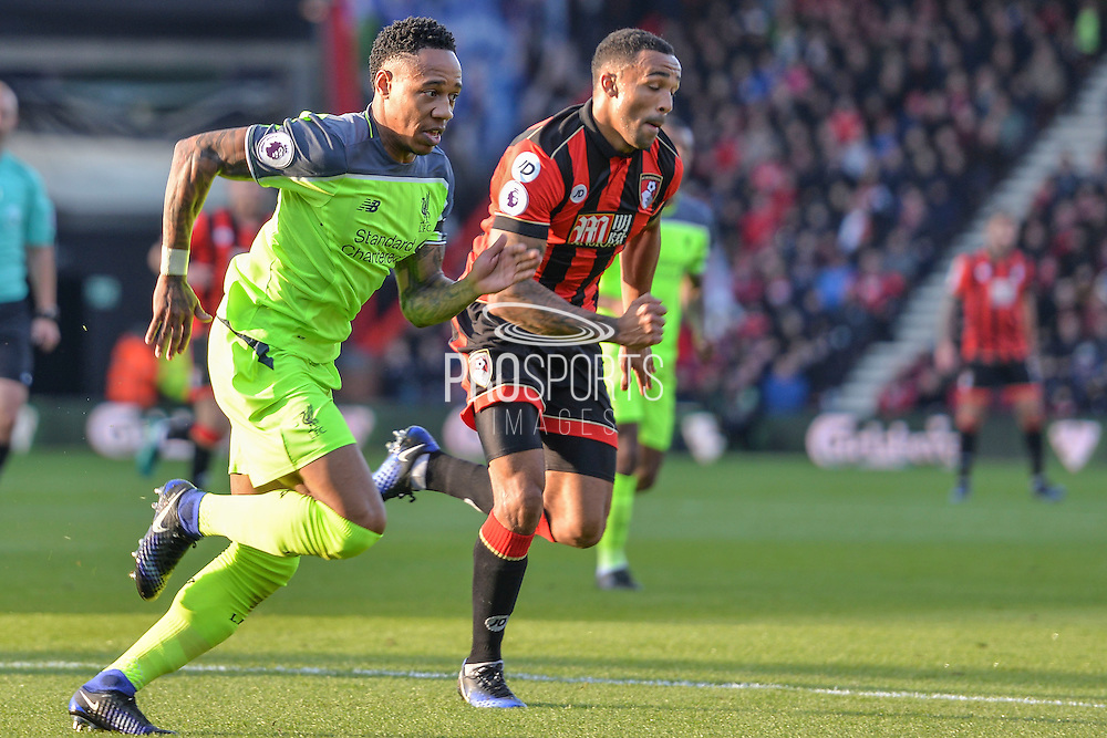 Liverpool defender (2) Nathaniel Clyne and AFC Bournemouth striker (13) Callum Wilson during the Premier League match between Bournemouth and Liverpool at the Vitality Stadium, Bournemouth, England on 4 December 2016. Photo by Mark Davies.