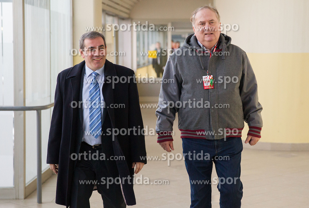 Roman Volcic and Bozidar Maljkovic prior to the press conference of Basketball Federation of Slovenia on February 10, 2013 in Arena Golovec, Celje, Slovenia. (Photo By Vid Ponikvar / Sportida)