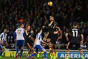 Newcastle United defender Ciaran Clark (2) heads clear during the EFL Sky Bet Championship match between Brighton and Hove Albion and Newcastle United at the American Express Community Stadium, Brighton and Hove, England on 28 February 2017. Photo by Bennett Dean.