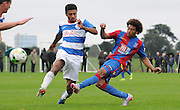Keshi Anderson firing a late shot during the U21 Professional Development League match between U21 QPR and U21 Crystal Palace at the Loftus Road Stadium, London, England on 31 August 2015. Photo by Michael Hulf.