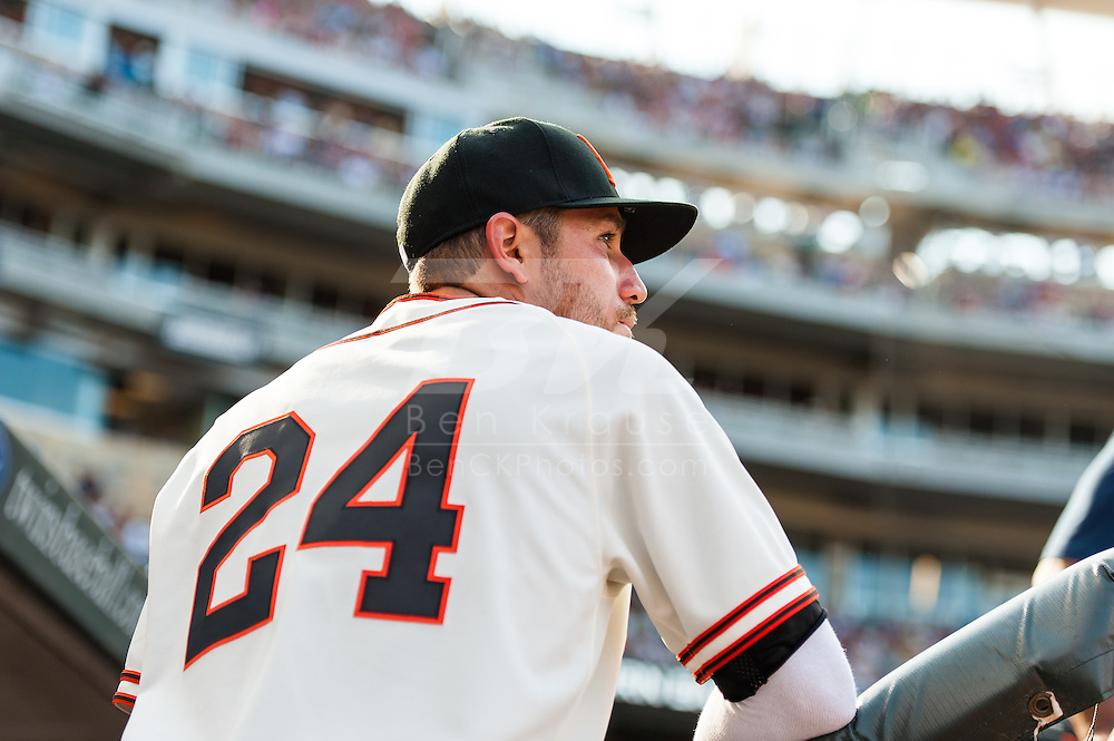 Wearing the 1951 uniform of the Minneapolis Millers,  Minnesota Twins Trevor Plouffe looks on before a game against the Kansas City Royals at Target Field on June 30, 2012 in Minneapolis, Minnesota.  This was the second game of a split double header.  The Twins defeated the Royals 5 to 1. © 2012 Ben Krause