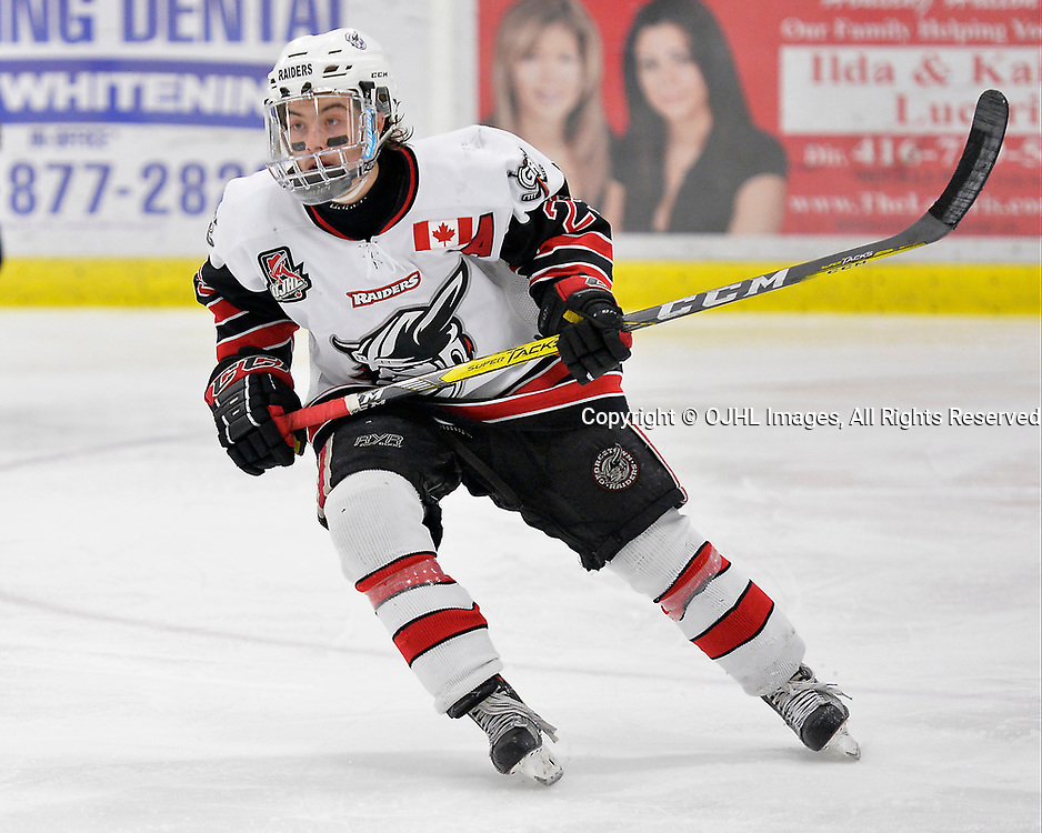 GEORGETOWN, ON  - APR 18,  2017: Ontario Junior Hockey League, Championship Series.  Georgetown Raiders vs the Trenton Golden Hawks in Game 3 of the Buckland Cup Final. Jack Jacome #23 of the Georgetown Raiders follows the play during the third period.   <br /> (Photo by Shawn Muir / OJHL Images)