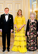 20-3-2018 THE HAGUE King Willem Alexander and Queen Maxima and King Abdullah II and Queen Rania during the official dinner at palace Noordeinde in The hague with princess Beatrix prince Constantijn  , princess Margriet and Pieter van Vollenhoven. <br /> . King Abdullah II and Queen Rania<br />  of Jordan will visit the netherlands for 2 days for a official visit ROBIN UTRECHT