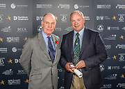 Scottish Border of Chamber Border Busines awards, 2017, held at Springwood Hall.<br /> <br /> 'Lifetime Achievement' winner Ron Wilson, BUAS &amp; Cowbog Farm. Collected by Douglas Stephen, of Crop Services &amp; BUAS. Sponsored by SBCC.