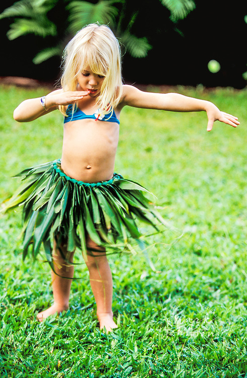 3 year old girl hula dancing people ****Model Release available