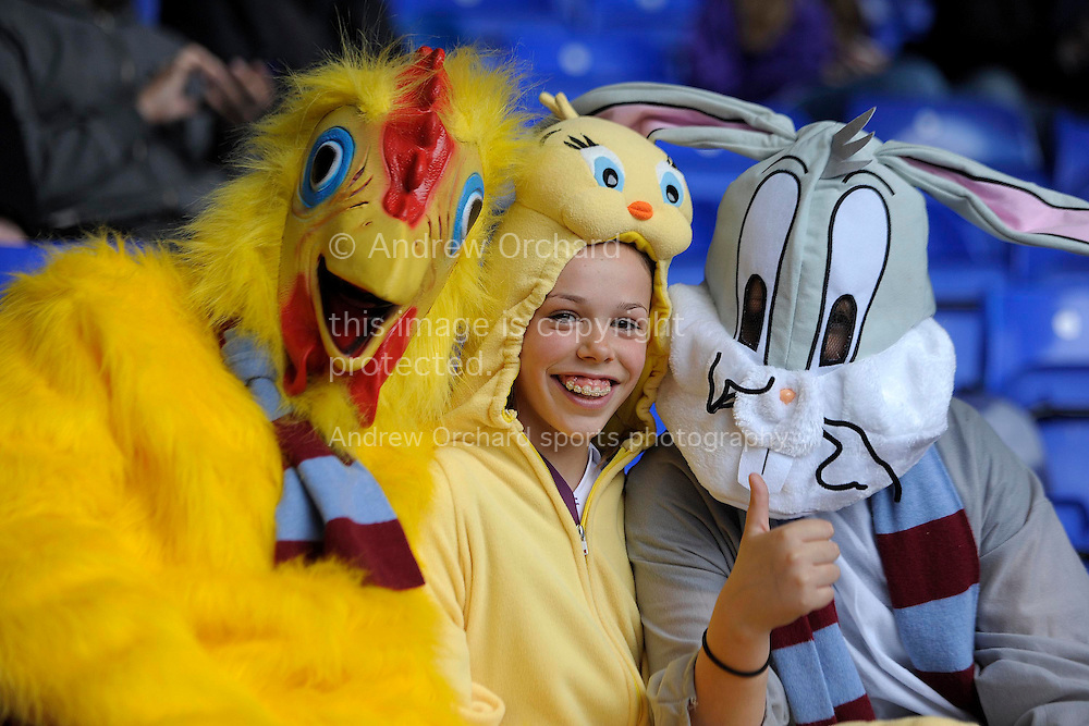 Aston Villa fans dress up before k.o Barclays premier league match ,Tottenham Hotspur v Aston Villa at White Hart Lane in Tottenham, London  on Sunday 11th May 2014.<br /> pic by John Patrick Fletcher, Andrew Orchard sports photography.