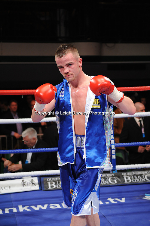 Light Welterweight Frankie Gavin defeats Michael Lomax at York Hall, Bethnal Green, London on the 19th February 2011. Frank Warren Promotions. Photo credit © Leigh Dawney.
