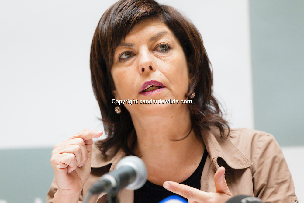 Press conference by Joelle Milquet, federal minister of internal affairs in Belgium