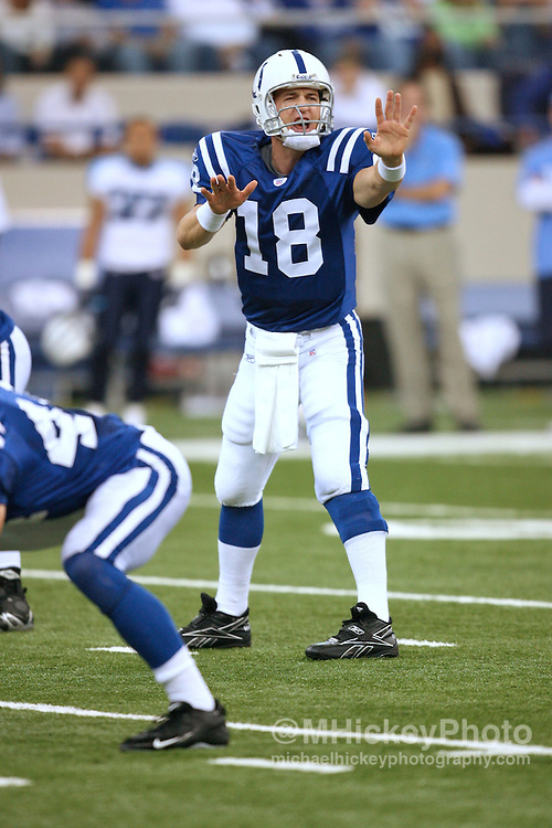 WireImage #10865523--Indianapolis Colts quarterback Peyton Manning seen during action against Tennessee at the RCA Dome in Indianapolis, Indiana on October 8, 2006.