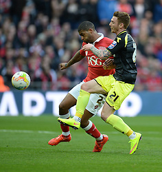 Walsall's Jordan Cook battles for the ball with Bristol City's Mark Little - Photo mandatory by-line: Alex James/JMP - Mobile: 07966 386802 - 22/03/2015 - SPORT - Football - London - Wembley Stadium - Bristol City v Walsall - Johnstone Paint Trophy Final
