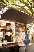 Wolf & Bear food cart at the SW Alder Food Pod in Portland, Oregon is know as one of the best falafel and vegetarian carts in town.