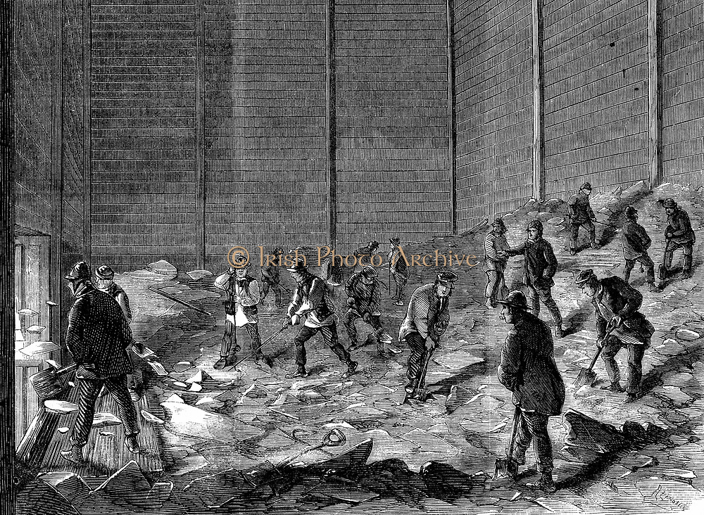 Storing ice in insulated sheds at Charles's Ice Store, Chelsea, London. For use in summer. Wood engraving 1861